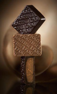 Le Mortier d'Or. Spécialité Pascal Caffet avec son fondant praliné maison noisettes du Piémont et son croustillant crêpe dentelle. Version chocolat noir intense Venezuela 70% et lait 40%. #chocolat #praliné