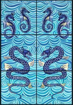 William Demorgan Fulham Period Sea Horses and Kraken, facing panels