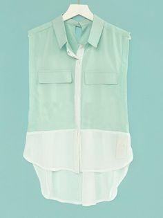 Green Sleeveless Contrast Hem and Pleated Back Pockets Chiffon Shirt