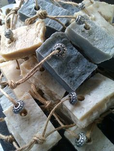 #Handmade #Soaps - Love these rustic looking soaps on a rope http://www.mycraftkingdom.com