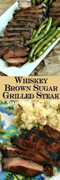 for a perfect grilled steak? This Whiskey Brown Sugar steak has you covered--thanks to Carla Hall's awesome marinade! via for a perfect grilled steak? This Whiskey Brown Sugar steak has you covered--thanks to Carla Hall's awesome marinade! Grilled Steak Recipes, Grilling Recipes, Meat Recipes, Cooking Recipes, Healthy Recipes, Grilled Steaks, Grilled Meat, Dinner Recipes, Healthy Grilling
