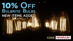 Take off these kind of Edison bulbs and all Bulbrite bulbs with the code NEWBULBS. Edison Bulbs, Earth From Space, Lighting Online, Christmas Lights, Light Fixtures, Light Bulb, Coding, Patio, Projects