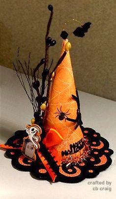 """4"""" mini witch hat (front) - handcrafted by cb craig"""