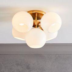 Modern Flush Mount Lighting | West Elm Vanity Lighting, Home Lighting, Lighting Ideas, Kids Lighting, Modern Lighting, Bathroom Lighting, Frame Wall Decor, Frames On Wall, Led Chandelier