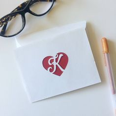 Monogrammed Heart Stationery Boxed Set