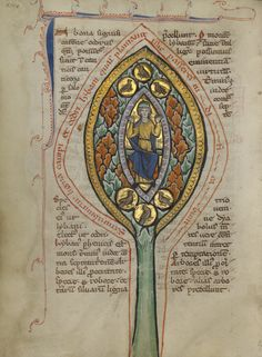 A Man Enthroned within a Mandorla in a Tree; Unknown; Thérouanne ?, France (formerly Flanders); about 1270; Tempera colors, gold leaf, and ink on parchment; Leaf: 19.1 x 14.3 cm (7 1/2 x 5 5/8 in.); Ms. Ludwig XV 3, fol. 13v