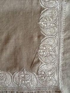 Pashmina shawl with marodi work in silver thread