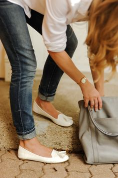 cuffed jeans with loafers (love the bag too)