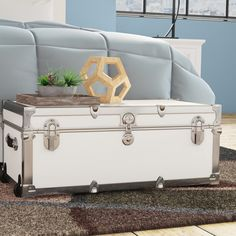 Price Check The Modern 30 Trunk By Rebrilliant Wicker Storage Trunk, Camp Trunks, Easy Bathroom Updates, Decorative Trunks, Wooden Trunks, Little Campers, Vintage Trunks, Steamer Trunk, Vinyl Cover