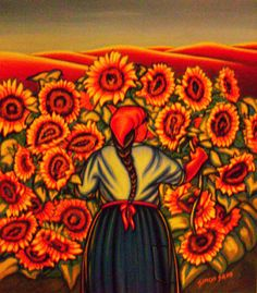 Una Flor - Simon Silva Mexican Artists, Mexican Folk Art, Vincent Van Gogh, Diego Rivera Art, Mexican Paintings, Latino Art, Frida And Diego, Mexico Art, Skulls And Roses