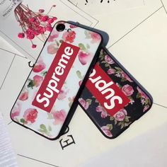 SupremeとLVコラボお洒落ファッション清楚系花柄フラワーiPhone8/7s/6s/6plusケース
