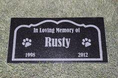 Sandblast-Engraved Granite Pet Memorial Grave Marker...Check it at http://www.hellosausage.com/pet-grave-markers/