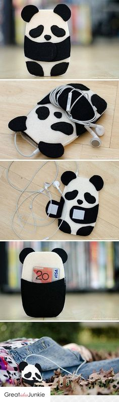 Felt panda earplug holder
