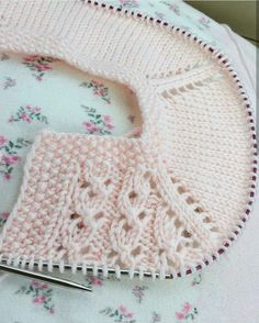 "Pink Cardigan ""Ajurlu yakadan şerifenin örgü dünyası # # \""Discover thousands of images about Mavi\"", \""Lace baby jacket (knit with crochet accents) from A Bind Off Knitting, Knitting For Kids, Easy Knitting, Baby Knitting Patterns, Knitting Stitches, Knitting Designs, Crochet Patterns, Dress Patterns, Bonnet Crochet"
