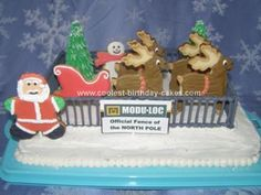 Homemade North Pole Cake: I made this north pole cake for my husband's work.  He works for a fence rental company. The cake is a 9x13 butter cake iced in white buttercream and sprinkled