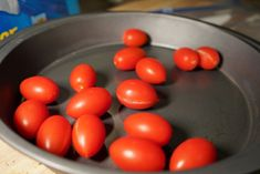 to later! De-stem tomatoes. Remove the stems (unless you have reason to keep them on Cherry Tomato Salsa, Cherry Tomatoes, Can You Freeze Grapes, Frozen Grapes, Preserves, Geek, Canning, Vegetables, Stems