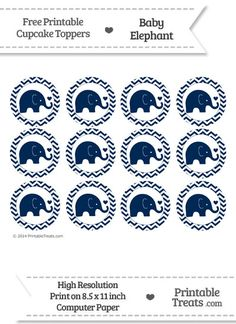 Navy Blue Baby Elephant Chevron Cupcake Toppers from PrintableTreats.com