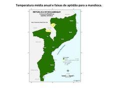 temperatura média anual e faixas de aptidão para a mandioca