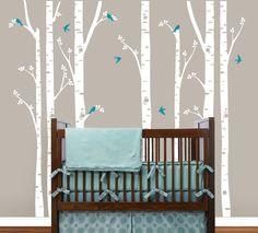 Birch Tree decal with Flying Birds LG set, Birch trees, Birch forest, Nursery Birch Trees Wall Vinyl. $79.00, via Etsy.