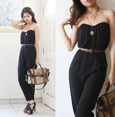 Get this look: http://lb.nu/look/2149819  More looks by Adriana Gastélum: http://lb.nu/bagt  Items in this look:  Asos Black Pleated Jumpsuit, Forever 21 Leopard Belt, Aldo Cotton & Leather Bag, Platform Sandals, Visit My Blog!