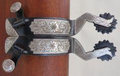New Handmade GENE KLEIN Sterling Silver Mounted Gal Leg Spurs