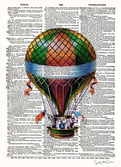 Hot Air Balloon Print – Vintage Book Page Print – Recycled Antique Book Print – Carnival Victorian Steampunk Airship – Age Spots Dirigible Steampunk, Steampunk Airship, Victorian Steampunk, Book Page Art, Book Pages, Book Art, Decoupage, Printed Balloons, Art Abstrait