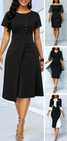 Sexy and sweet at the same time, these pretty black dresses are perfect for any special occasion or memorable event.Pair it with pointy toe pumps and a small clutch for a gorgeous look! Short African Dresses, Latest African Fashion Dresses, Women's Fashion Dresses, Pretty Black Dresses, Elegant Dresses, Casual Dresses, Classy Work Outfits, Classy Dress, Black Dresses Online