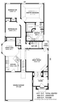 European Style House Plan - 3 Beds 2.00 Baths 1571 Sq/Ft Plan #424-119 Floor Plan - Main Floor Plan - Houseplans.com