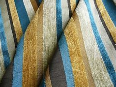 10Y DESIGNER TURQUOISE BLUE GOLD BLACK CHENILLE STRIPE #404A