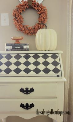 The Salvaged Boutique updates a vintage secretary desk with chalk paint, milk paint and a diamond checker pattern