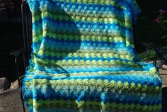 Vintage Afghan Peacock Stripes by CheekyVintageCloset on Etsy, $34.00