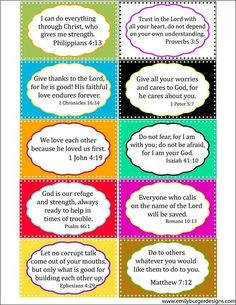 Cut out bible verses. Perfect for decorating lockers!