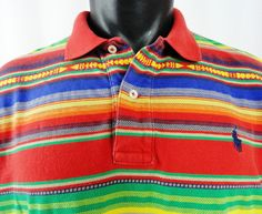 VTG Polo Ralph Lauren Mens L Southwestern Shirt Polo Beacon Striped SS Red Blue #PoloRalphLauren #PoloRugby