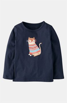 Mini Boden 'Winter Wooly Pet' Tee (Toddler) - ShopStyle Girls' T-Shirts Weather Fronts, Bug Clothing, Mini Boden, Kids Wear, Toddler Girl, Long Sleeve Tees, Applique Ideas, Pets, Sweatshirts