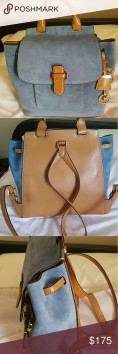 Michael Kors backpack suede front, leather back and straps Michael Kors Bags Backpacks