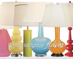 Colorful Table Lamps Just for shape and color ideas - the prices are absurd!