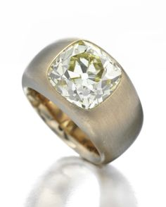 A Light Fancy Yellow Diamond Ring, of 7.84ct, Mounted in Brushed Copper and White Gold, by Hemmerle.  Available Exclusively at FD.   www.fd-inspired.com