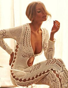 70's crocheted jumpsuit   Supernatural Style