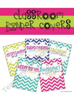 Classroom Binder Covers from KindergartenWorks on TeachersNotebook.com (5 pages)  - Bright, chevron binder covers for your classroom needs!