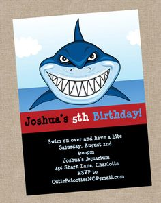Shark Birthday Invitation Shark Birthday Party Invitations Print Your Own or Have Us Print on Etsy, $198.41