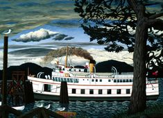 Hughes The Car Ferry at Sydney, British Columbia 1952 Group Of Seven, Canadian Artists, Vancouver Island, British Columbia, Sydney, Boats, Canada, Paintings, Culture