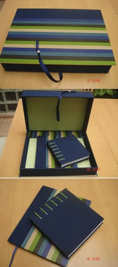 Handmade set of box and two notebooks.