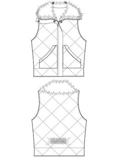 This technical flat of a fur vest is an example of a vector drawing that can be executed via Adobe Illustrator. This drawing is made of entirely of line, some straight, and others manipulated to curve to suit the lines of the garment. These can be used in a 2D or a 3D environment and can be resized easily without losing information.