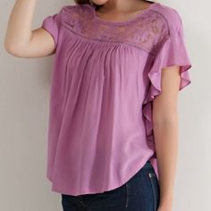 ✨NEW✨Lilac Mauve Babydoll Lace Flutter Blouse Ruffles sleeve blouse with a keyhole back closure and a lace accent on front and back yoke. Lightweight woven material. Non-sheer. Leather and Sequins Tops Blouses