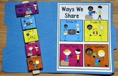 "Ways We Share Visuals - This download includes all of the pictures you need to create a ""Ways We Share"" visual that can be used as a poster in centers or small groups, or assembled into a file folder for an individual.  It also includes the pictures you need to create a portable ""Ways We Share,"" visual using a paint stirrer."