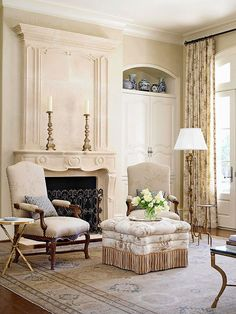 Beautiful fabrics and provincial patterns are hallmarks of country French style. To balance today's hectic lifestyles, softer colors and more delicate patterns have become popular choices. Pretty fringes, decorative trims, and lacy accents add an elegant finish./