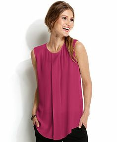 Vince Camuto Sleeveless Pleated Blouse  Macy's