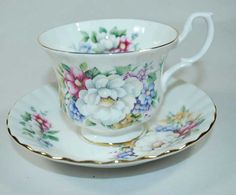 Bone China Cup and Saucer  Royal Albert Summertime by annswhimsey, $15.00