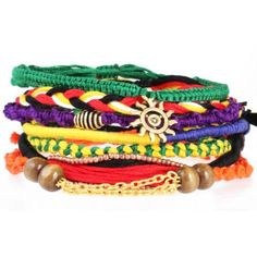 Tribal bracelets are thickly braided in tribal styles and colors. String  bracelets braided with beads, charms and chain. All friendship  bracelets are soft hand-knotted cotton fabric. Colors...