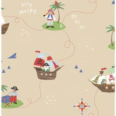 8 in. W x 10 in. H Sand (Brown) Funny Pirates Wallpaper Sample